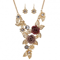 Retro Style Hollow Out Rose Pendant Necklace + Earrings Set