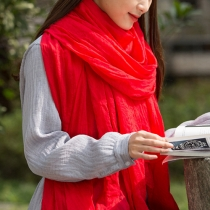 Fashion Wrinkled Woven Solid Color Oblong Scarf
