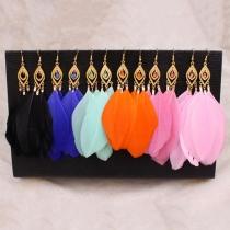 Fashion Feather Drop Earring