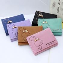 Lovely Rabbit Bow-Knot Rhinestone Folded Short Wallet