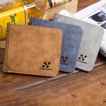 Retro Style Solid Color Wallet For Men