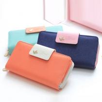 Fashion Contrast Color Hasp Long Wallet