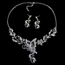Fashion Rhinestone Butterfly Necklace + Earrings Set