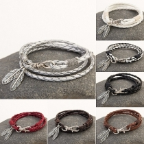 Fashion Leaf Pendant Multi-layer Woven Key Ring Bracelet