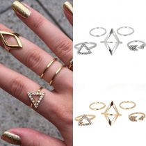 Fashion All-mattch Rhombus Triangle Shaped Ring Five Pieces Set