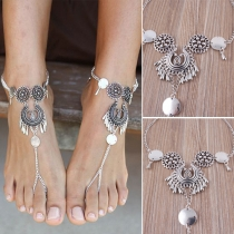 Bohemian Hollow Out Carving Water-drop Single Anklet Chain