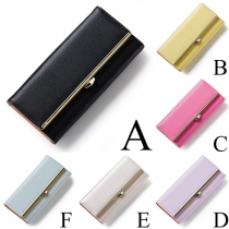 Fashion Elegant Solid Color Three-fold Clutch Wallet