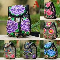 Fashion Ethnic Embroidery Canvas Backpack