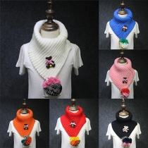 Fashion Bear Colorful Beads Pendant Unisex Knit Scarf For Children
