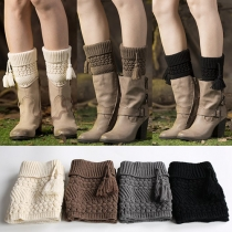 Fashion Solid Color Tassel Knitted Boot Socks Leg Warmers