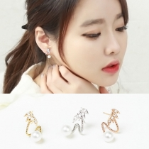Fashion Rhinestone Pearl Stud Earrings