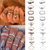 Retro Style Engraving Ring Set 10 Pieces/Set