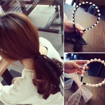 Fashion Lace Spliced Pearl Beaded Headband