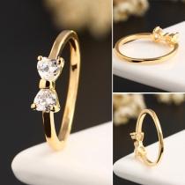 Sweet Style Rhinestone Bowknot Gold-tone Ring