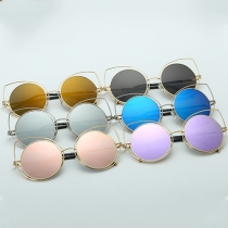 Cute Hollow Out Cat Eye Round Frame Sunglasses