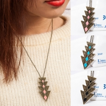 Retro Style Triangle Pendant Necklace