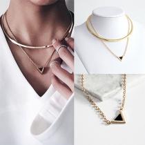 Fashion Delicate Triangle Shaped Pendant Choker Necklace