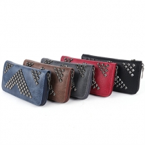 Fashion Delicate Solid Color Zipper PU Rivet Wallet