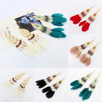 Fashion Delicate Oval Feather Shaped Tassel Pendant Earring