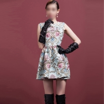 Elegant Jacquard Sleeveless Round Neck Slim Fit Dress