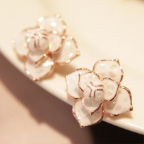 Fashion Rhinestone Camellia Shaped Stud Earrings