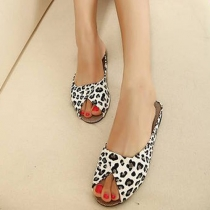 Fashion Leopard Print Peep Toe Flat Heel Slippers