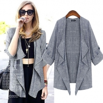 Fashion 3/4 Sleeve Solid Color Cardigan