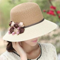 Fashion 3D Flowers Contrast Color Straw Hat Sun Hat