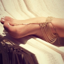 Fashion Gold-tone Multilayer Anklet Chain