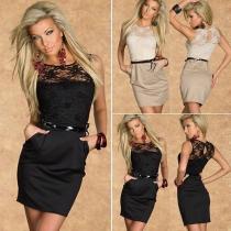 Fashion Lace Spliced Sleeveless Round Neck Slim Fit Dress
