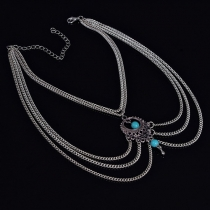 Retro Ethnic Style Hollow Out Turquoise Pendant Arm Chain Bracelet