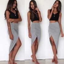 Fashion Solid Color High Waist Irregular Hem Bust Skirt