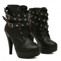 Retro Rivets Lace-up High-heeled Motorcycle Boots Booties