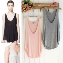 Fashion Solid Color V-neck Loose All-match Tank Tops