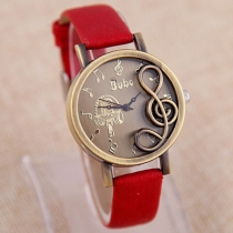 Retro PU Leather Watch Band Musical Note Round Dial Quartz Watch