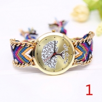 Fashion Colorful Braided Watch Band Life-tree Round Dial Quartz Watches