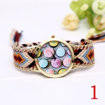 Fashion Colorful Braided Watch Band Round Dial Quartz Watches
