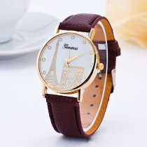 Fashion PU Leather Watch Band Arc de Triomphe & Eiffel Tower Pattern Quartz Watches