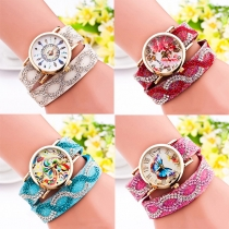 Rhinestone PU Leather Watch Band Round Dial Quartz Watches