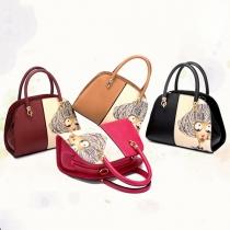 Cute Cartoon Pattern Contrast Color Handbag Shoulder Messenger Bag