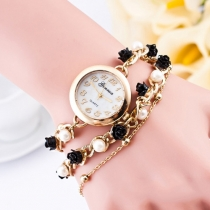 Fashion Women Pearl Flower Bracelet Watch