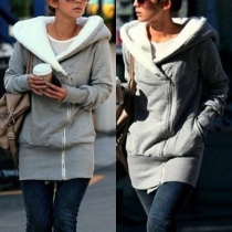 Fashion Solid Color Long Sleeve Hooded Thin Sweatshirt Coat