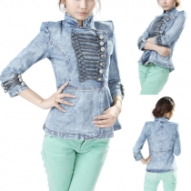 Fashion Stand Collar 3/4 Sleeve Single-breasted Gathered Waist Demin Jacket