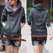 Fashion Solid Color Long Sleeve Oblique Zipper Sweatshirt Coat
