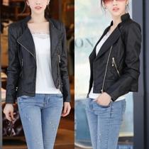 Elegant Solid Color Long Sleeve Slim Fit PU Leather Jacket