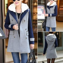 Fashion Contrast Color Double-breasted Woolen Coat + Hooded Vest Set