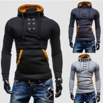 Fashion Double-breasted Long Sleeve Hooded Men Hoodies