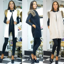 Fashion Solid Color Round Neck Sleeveless fur Vest Cardigan Coat