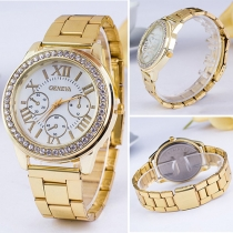 Fashion Stainless Steel Watch Band Round Dial Quartz Watches