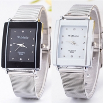 Fashion Stainless Steel Watch Band Rectangle Dial Quartz Watches